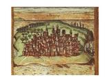 Map of Mombasa  Kenya  from Civitates Orbis Terrarum by Georg Braun and Franz Hogenberg