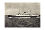 Schiff Saturnia Der Italian Line Auf Dem Meer  1954