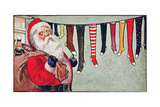 Santa and the Stockings  Postcard  1906