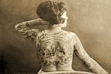 Portrait of a Tattooed Woman, C.1895 Papier Photo