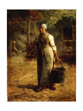 Woman Carrying Firewood and a Pail  C1858-60