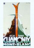 Eté-hiver Chamonix Mont-Blanc Reproduction d'art par Henry Reb