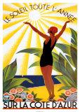 Le soleil toute l'année sur la Côte d'Azur Reproduction d'art par Roger Broders