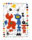Personnage Et Oiseaux Reproduction d'art par Joan Miró