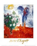 Couple au Dessus de St Paul Reproduction d'art par Marc Chagall