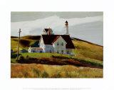 Colline et maisons de Cape Elizabeth au Maine Reproduction d'art par Edward Hopper