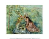 Girls Picking Flowers in a Meadow Reproduction d'art par Pierre-Auguste Renoir