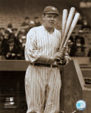 Babe Ruth - with 3 bats - &#169;Photofile