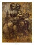 La Vierge et l'Enfant Jésus avec Sainte Anne Reproduction d'art par Leonardo Da Vinci