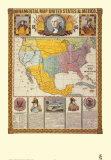 Carte ornamentale /Etats-Unis et Mexique Reproduction d'art par Humphrey Phelps