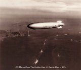 USS Macon over the Golden Gate and Pacific Fleet  1934