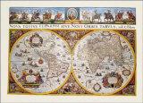 Carte du monde Reproduction d'art par Willem Janszoon Blaeu