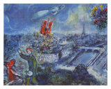 Vue de Paris Reproduction d'art par Marc Chagall