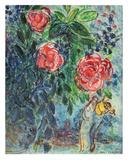 Fleurs et amoureux Reproduction d'art par Marc Chagall