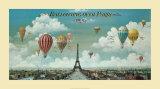 Vol en ballon au dessus de Paris Reproduction d'art par Isiah And Benjamin Lane