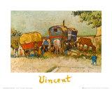 Les roulottes, campement de bohémiens aux environs d'Arles Reproduction d'art par Vincent Van Gogh