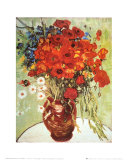 Vase avec marguerites et coquelicots Reproduction d'art par Vincent Van Gogh