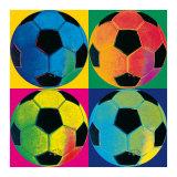 Quatre ballons de football Reproduction d'art par Hugo Wild