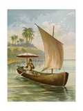 Robinson Crusoe Sailing in His Boat
