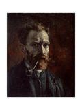 Self-Portrait with Pipe, 1886 Reproduction d'art par Vincent Van Gogh