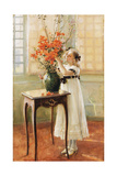 A Young Girl Arranging Spring Flowers  1909