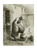 Woman Pouring Water into Milk Cans