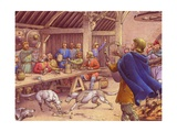 Saxons Carousing in a Typical Wood-Built Hall