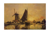 In Holland  Boats Near a Windmill  1868