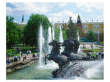 Fountain at Alexander Garden  Moscow  Russia