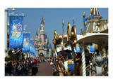 Parade in the Main Street USA with Sleeping Beauty's Castle  Disneyland Resort Paris