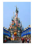 Parade in the Main Street USA with Castle of Sleeping Beauty  Disneyland Park Paris