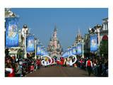 Parade in the Main Street USA with Sleeping Beauty's Castle  Disneyland Resort Paris