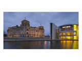 Reichstag and Paul Loebe House in the evening  Berlin  Germany