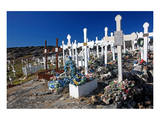 Graveyard on a hill  Ilulissat  Disko Bay  West Coast  Greenland