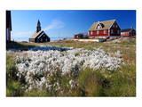 Historic centre and Zion Church in Ilulissat  Disko Bay  West Coast  Greenland