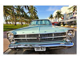 Ford Classic Car on Ocean Drive in the Art Deco District in South Miami Beach  Miami  Florida  USA
