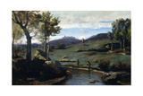 Roman Countryside - Rocky Valley with a Herd of Pigs  1843