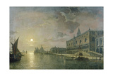 Moonlit View of the Bacino Di San Marco  Venice  with the Doge's Palace