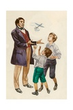 The Wright Brothers as Boys  Given a Toy Plane by their Father