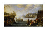 Genoese Troops Boarding Galen in Port of Genoa