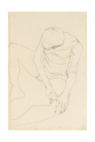 Female Nude Bent Forward  Both Hands on the Left Thigh  1913