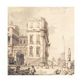 A Capriccio of a Venetian Palace Overlooking a Piazza with an Obelisk