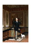 Conte De La Rouchefoucauld Duc De Doudeauville with His Terrier  C1870S