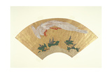 Unmounted Fan: Bird Diving onto Snow-Covered Bamboo  C1700-60