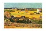 Harvest at La Crau with Montmajour in the Background Giclée par Vincent Van Gogh