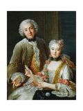 Portrait of Francois De Jullienne Standing Beside His Wife  Seated  C1743