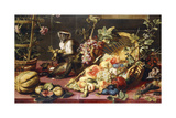 A Spilled Basket of Fruits on a Draped Table with Monkeys