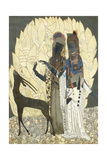 Two Stylised Women with an Antelope Amongst Foliages  C1928