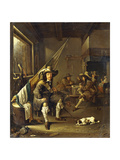 A Seated Cavalier with Soldiers Playing Cards  1655
