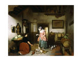 Interior of a Larder with Women Cleaning Game  1852